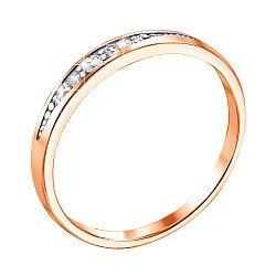 Золотое кольцо Изящный штрих в красном цвете с дорожкой бриллиантов