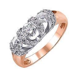 Золотое кольцо в комбинированном цвете с бриллиантами 000147925