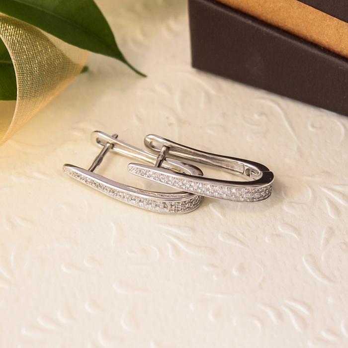 Серебряные серьги с цирконием Многогранное сияние SLX--С2Ф/174