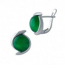 Серебряные серьги Томирис с зеленым кошачьим глазом