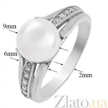 Серебряное кольцо Паж с жемчугом и фианитами 1759/9р б жем