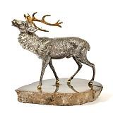 Серебряная статуэтка с позолотой Олень