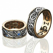 Золотое обручальное кольцо с сапфирами