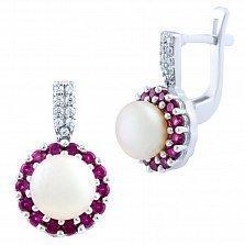 Серебряные серьги Валентия с жемчугом, рубинами и фианитами