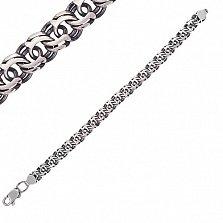 Серебряная чернёная цепь Арктик в плетении арабский бисмарк, 5мм