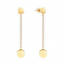 Позолоченные серебряные серьги-подвески Медовый ручеек с лимонным янтарем