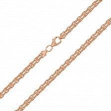 Золотая цепь Венеция фантазийного двойного плетения в красном цвете, 4мм