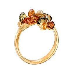 Серебряное кольцо в позолоте с янтарем 000149071