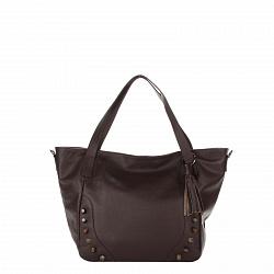 Кожаная сумка на каждый день Genuine Leather 8868 коричневого цвета с декоративными заклепками