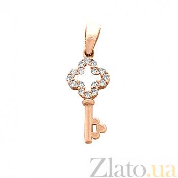 Золотой подвес с фианитами Ключ 000023757
