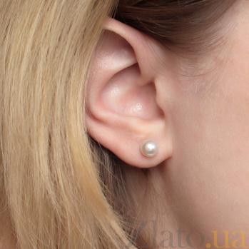 Серебряные пуссеты Кларисса с шариками белых жемчужин 6-6,5мм 000058248