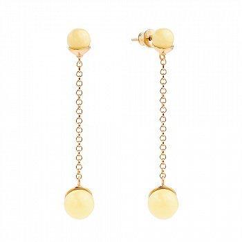 Позолоченные серебряные серьги-подвески с лимонным янтарем 000118950