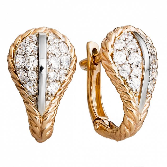 Золотые серьги с цирконием Раяна 000030224