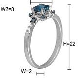 Кольцо Галина из белого золота с бриллиантами и топазом