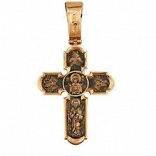 Золотой крестик с черным родием Неупиваемая чаша