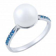 Серебряное кольцо Марва с жемчугом и синтезированным топазом лондон