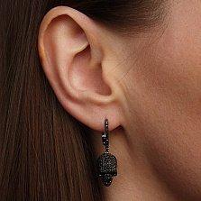 Серебряные серьги-подвески Черный череп с фианитами