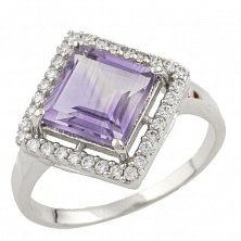 Серебряное кольцо Николетта с аметистом и фианитами