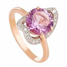 Золотое кольцо с аметистом и фианитами Элегия