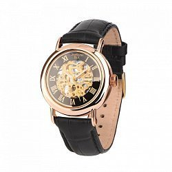 Часы автоматические Стиль из красного золота с механизмом скелетон