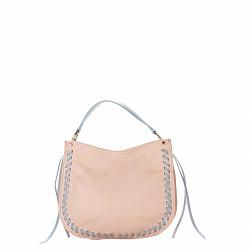 Кожаная сумка на каждый день Genuine Leather 8701 розового цвета с голубыми вставками, на молнии