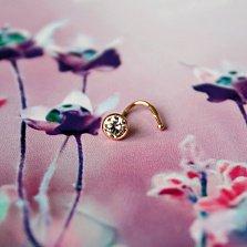 Золотой пирсинг для носа Оливер в красном цвете с фианитом