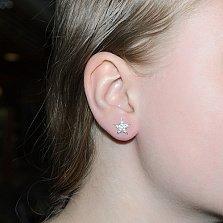 Серебряные серьги-пуссеты Звёздочка в усыпке белых фианитов