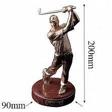 Бронзовая скульптура Игрок в гольф полностью в позолоте на мраморной подставке