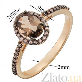 Золотое кольцо Верона с раухтопазом и фианитами 000029210