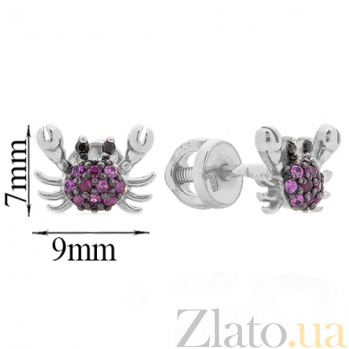 Серебряные родированные пуссеты Крабики с рубиновыми и черными фианитами 000054191