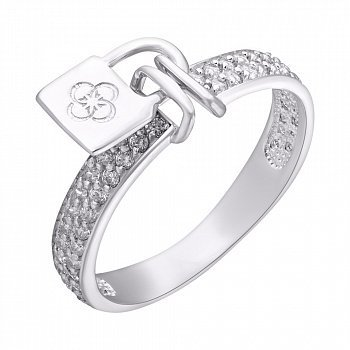 Серебряное кольцо с фианитами, скрепленное замочком 000125514
