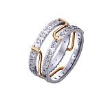 Золотое обручальное кольцо Модерн с фианитами