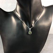 Серебряная подвеска Ноэль с зеленым кварцем и черными фианитами