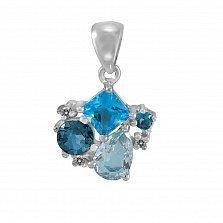 Кулон из белого золота Синева с топазами и бриллиантами