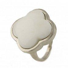 Серебряное кольцо Лаура с белым ониксом в стиле Van Cleef
