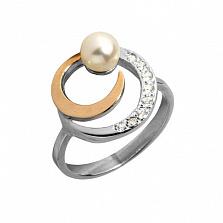 Серебряное кольцо Фламенко с золотом, жемчугом и фианитами