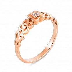 Золотое кольцо Цветочная любовь с шинкой в форме цветов и сердец и белым фианитом