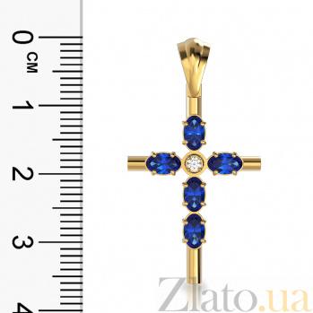 Золотой крестик Глубина любви в красном цвете с сапфирами и бриллиантом VLA--33281