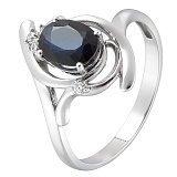 Золотое кольцо Альфия с сапфиром и фианитами