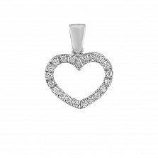 Кулон из белого золота Сердечко с бриллиантами