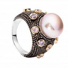 Серебряное кольцо с розовым жемчугом и золотыми вставками Ирма