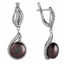 Серебряные серьги-подвески Алевтина с черным жемчугом и фианитами