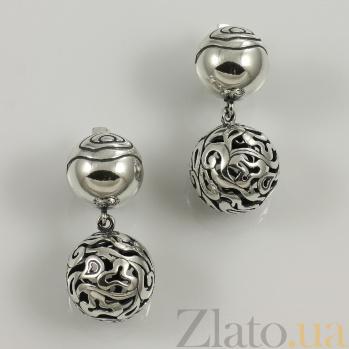 Серебряные серьги Бриолина 000017457