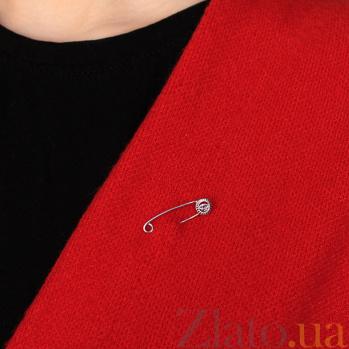 Серебряная булавка Глаз с синей синтетической шпинелью 000097393