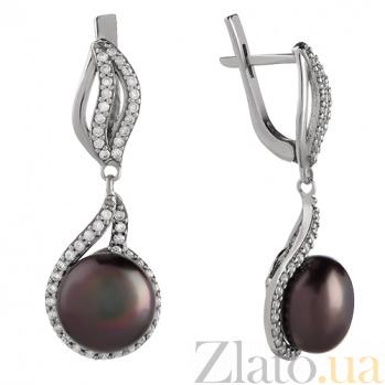 Серебряные серьги-подвески Алевтина с черным жемчугом и фианитами 2209/9р ч жем