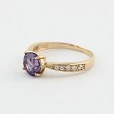Золотое кольцо Беатриса с александритом и фианитами