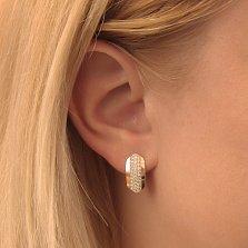 Серебряные серьги Бритни с золотыми накладками и белыми фианитами