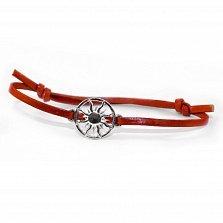 Кожаный браслет с серебром Sun Red с чернением