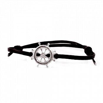 Кожаный браслет с серебром Helm Black с чернением 000091314