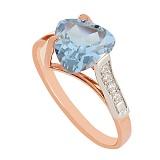 Золотое кольцо с топазом и фианитами Ингеборга